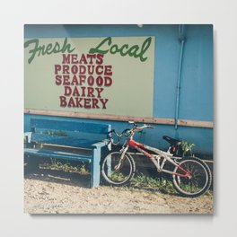 Bike At Farmers Market (Square) Metal Print