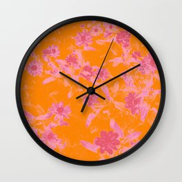 Floral trio tone photograph with orange and pinks Wall Clock