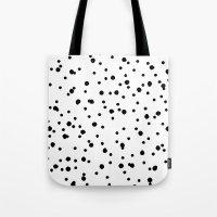 polkadot Tote Bags featuring Polkadot White Pattern by Pan Lis