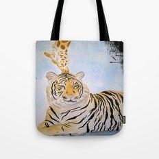 Giraffe Kissing Tiger Tote Bag