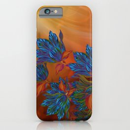 """Blue flowers on orange silk"" (Air Spring at night) iPhone Case"
