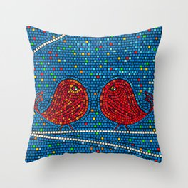 Mosaic tiles background with colored  birds Throw Pillow