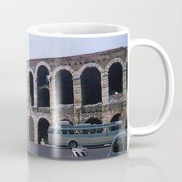 Vintage Color Photo * Verona Arena * Italy * 1950's * Antique Cars * Bus *Italian Coffee Mug