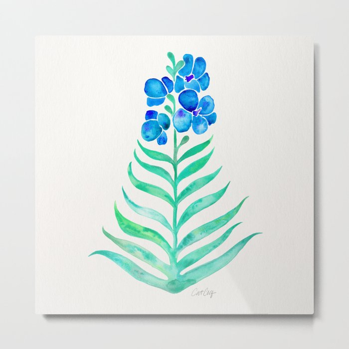 Blooming Orchid – Mint & Blue Palette Metal Print
