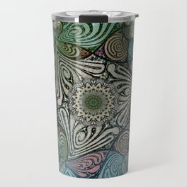 Labyrinth Mandala Blue Green Grey Travel Mug