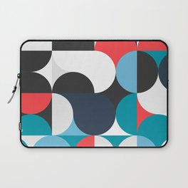 Circles Curves Shapes, Abstract and Geometry, Red, White, blues, black Laptop Sleeve