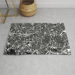 Madrid city map black&white Rug