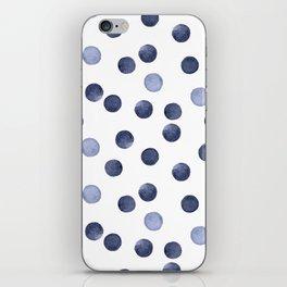 Watercolor . Dark blue polka dot . iPhone Skin