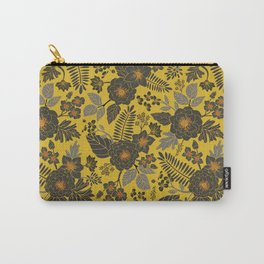 Mustard Yellow, Blue-Gray & Red Floral/Botanical Pattern Carry-All Pouch