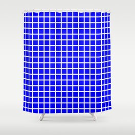 Grid (White & Classic Blue Pattern) Shower Curtain