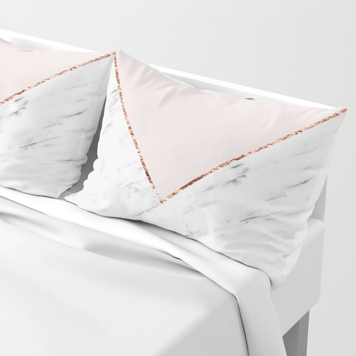 Peony blush geometric marble Pillow Sham