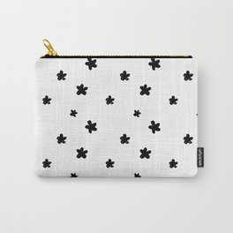 Black white hand painted floral pattern Carry-All Pouch