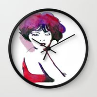 bow Wall Clocks featuring Bow by Nathan Dixon Art