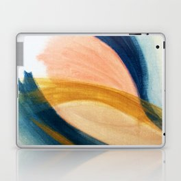 Slow as the Mississippi - Acrylic abstract with pink, blue, and brown Laptop & iPad Skin