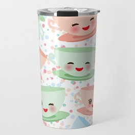 Cute blue pink green Kawai cup, coffee tea with pink cheeks and winking eyes, polka dot background Travel Mug