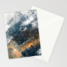 Wander [4]: a vibrant, colorful, abstract in blues, white, and gold Stationery Cards