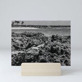 Landscape of sea rocks and the beach Mini Art Print