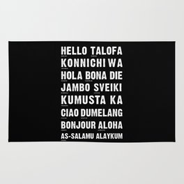 Hello Language Typography Black and White Rug