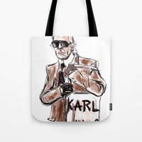 karl Tote Bags featuring Karl who? by Kalli