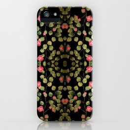 """Spring pink flowers and leaves - Black"" iPhone Case"