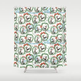 POODLES celebrate CHRISTMAS with a blue ribbon Shower Curtain