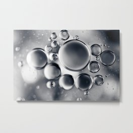 Silver Macro Photography Water Droplets Metal Print