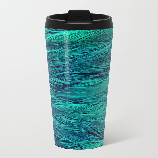 Teal Feathers Metal Travel Mug