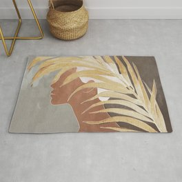 Woman with Golden Palm Leaf Rug