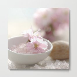 #Still life for #Bathroom with #almond #blossoms #beautiful #homedecors Metal Print