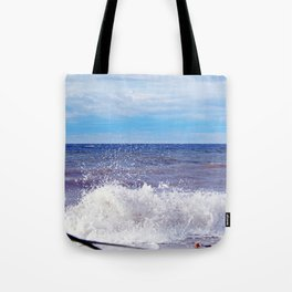 Wave Crashing onto the Beach Tote Bag