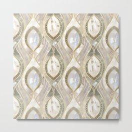 White Quartz & Gold Elegant Pattern Metal Print