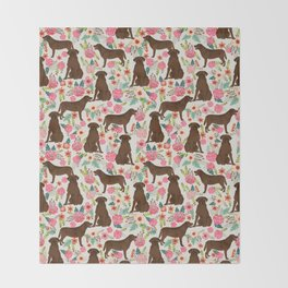 Labrador Retriever florals chocolate lab cute pet gifts must have labrador florals Throw Blanket