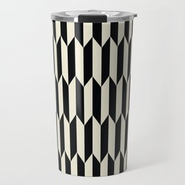 BW Oddities I - Black and White Mid Century Modern Geometric Abstract Travel Mug
