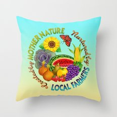 Mother Nature Local Farmer Throw Pillow