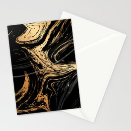 Luxurious Black and Gold Marble Stationery Cards