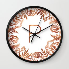 Letter P - Faux Rose Gold Glitter Flowers Wall Clock