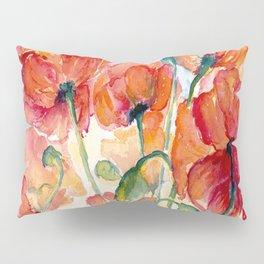 Tangerine Orange Poppy field WaterColor by CheyAnne Sexton Pillow Sham
