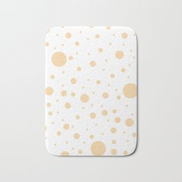 Mixed Polka Dots - Sunset Orange on White Bath Mat