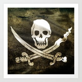 Pirate Skull in Cross Swords Art Print