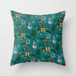 Christmas Holiday Teal Throw Pillow
