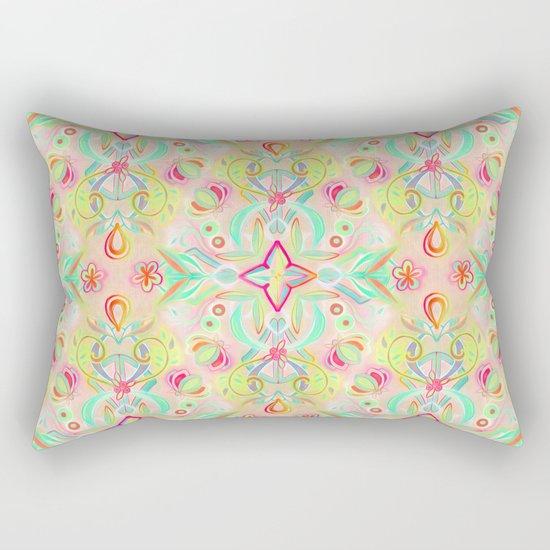 Soft Neon Pastel Boho Pattern Rectangular Pillow