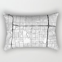 Tempe Map, USA - Black and White Rectangular Pillow