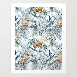Peacock among the leaves 01 Art Print