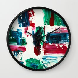 Jingle all the way green blue red white acrylic abstract brushstrokes christmas pattern Wall Clock