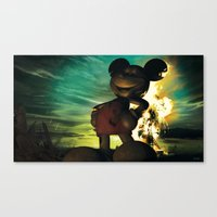 mickey Canvas Prints featuring Mickey by Steve Cutts
