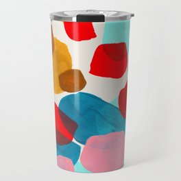 Fun Colorful Bright Abstract Shapes Mid Century Modern Patterns Blue Teal Red Pink Yellow Ochre Travel Mug