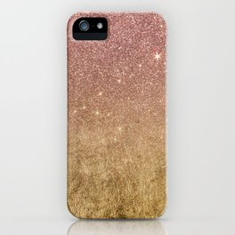 Pink Rose Gold Glitter and Gold Foil Mesh iPhone Case
