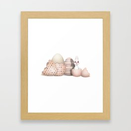 Kawaii Easter Bunny hatching from Easter Eggs Framed Art Print