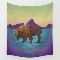 buffalo Wall Tapestries featuring Buffalo Country by Moonshine Madness