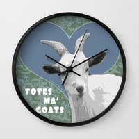 totes Wall Clocks featuring Totes Ma Goats - Green Wallpaper by BACK to THE ROOTS